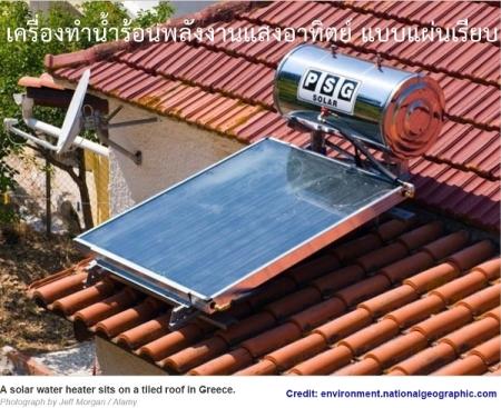 เครื่องทำน้ำร้อนพลังงานแสงอาทิตย์ แบบแผ่นเรียบ